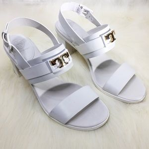 Tory Burch White Gigi Two Band Sandals